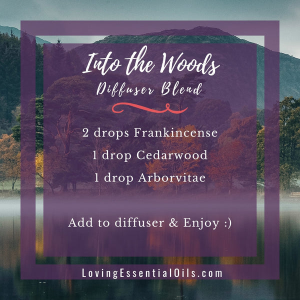 Diffuser Recipes for Fall - Wonderful Autumn Scents of the Season! by Loving Essential Oils | Into the Woods with frankincense, cedarwood, arborvitae