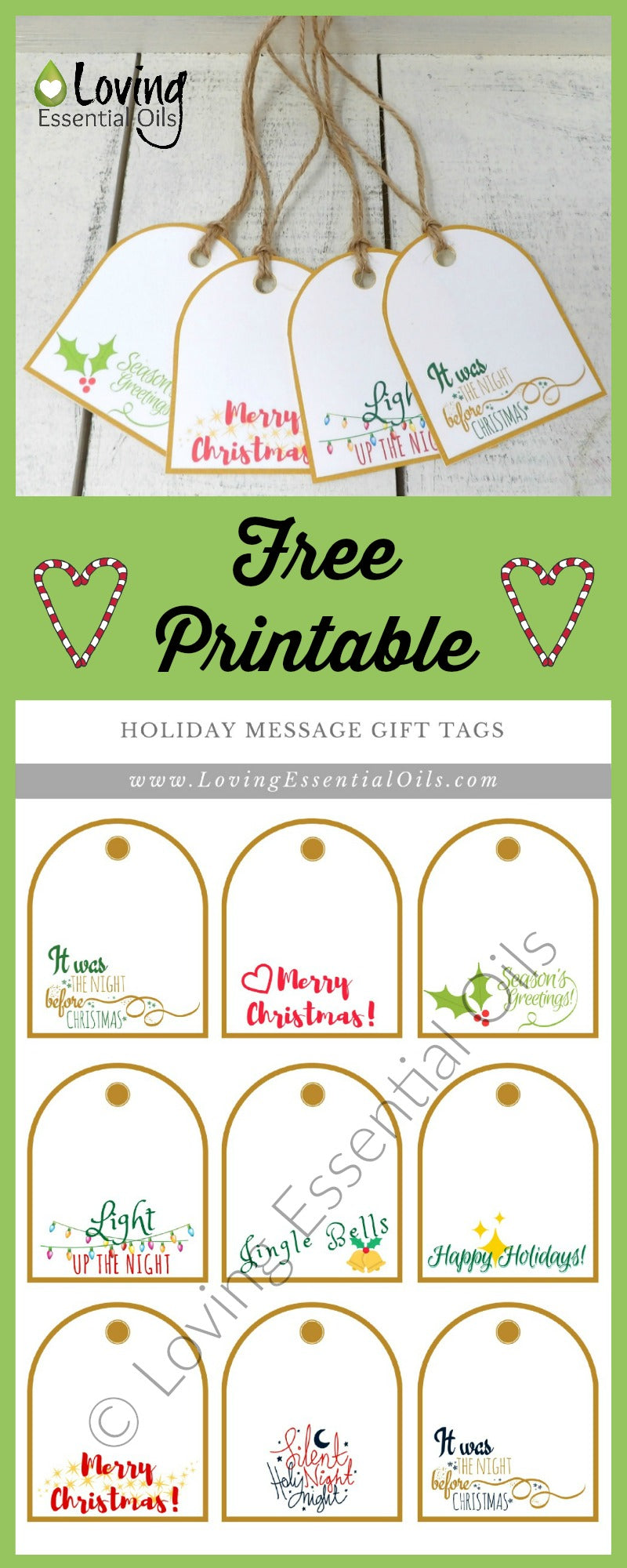 Free printable holiday gift tags loving essential oils free printable holiday gift tags by loving essential oils negle Choice Image
