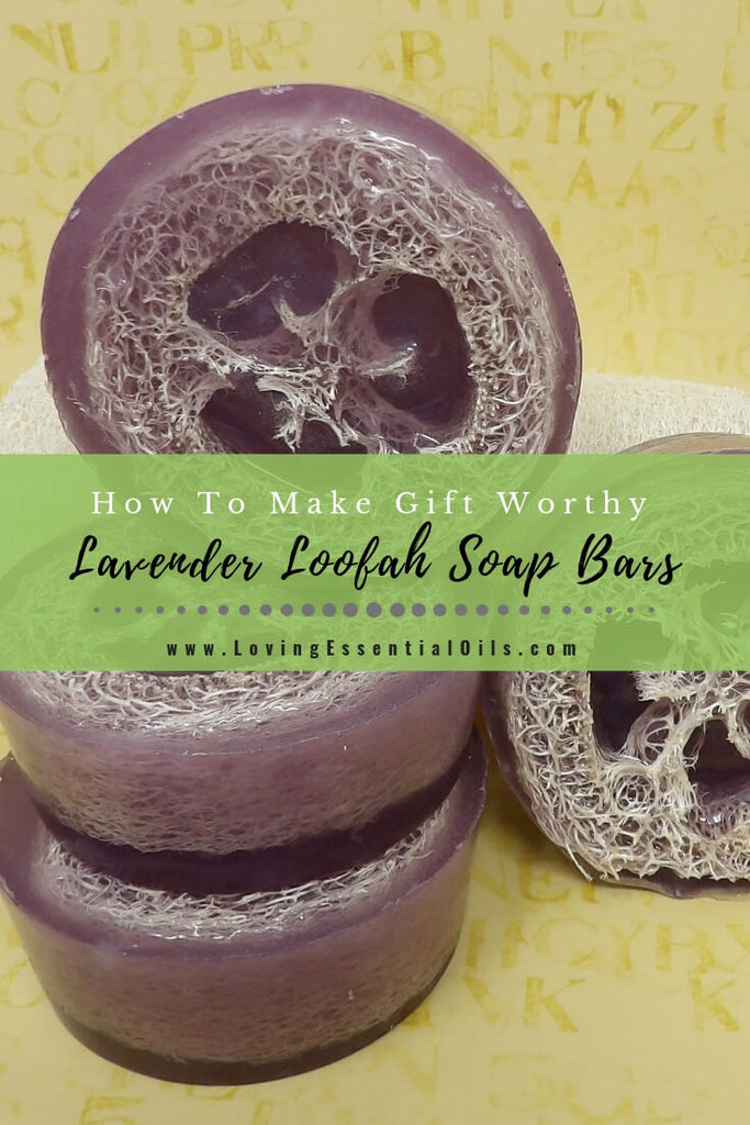DIY Lavender Loofah Soap Bars by Loving Essential Oils