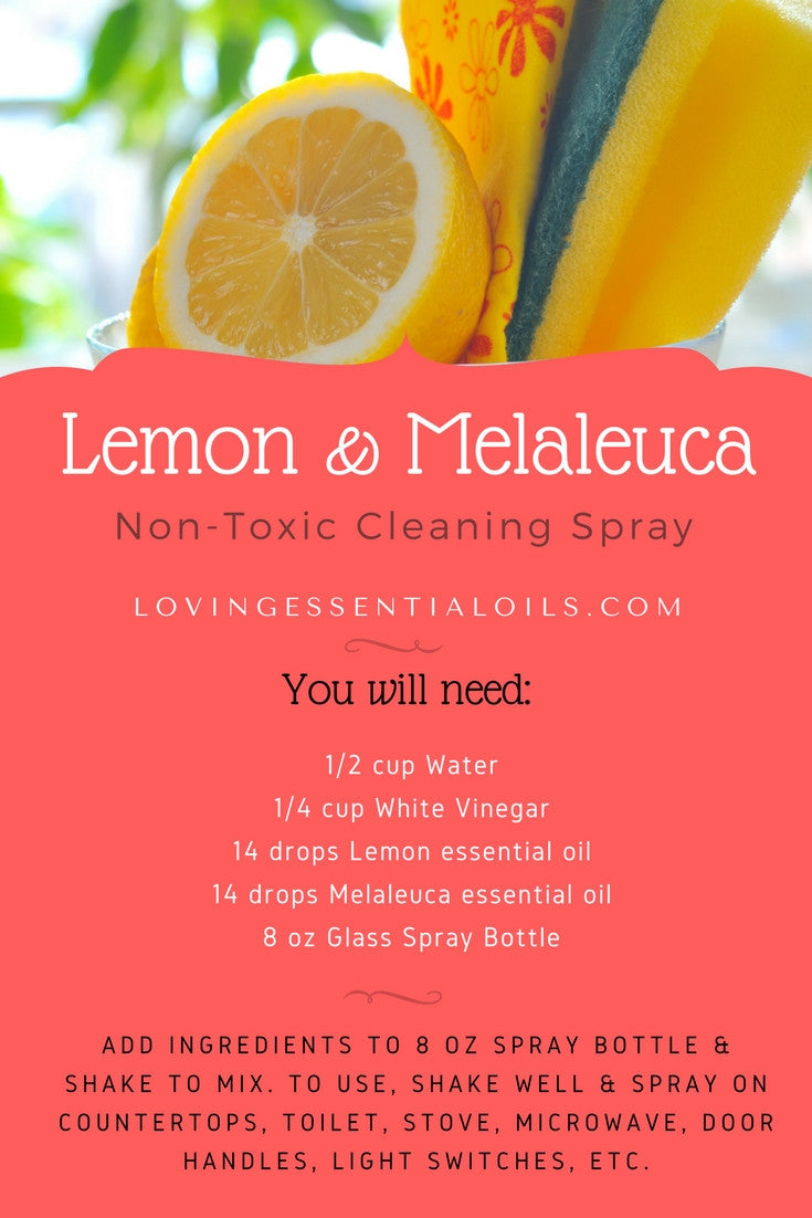 Lemon & Melaleuca Essential Oil Non-Toxic Cleaning Spray