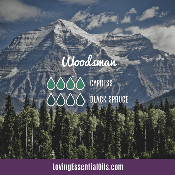 Woodsman Essential Oil Diffuser Blend by Loving Essential Oils with cypress and black spruce