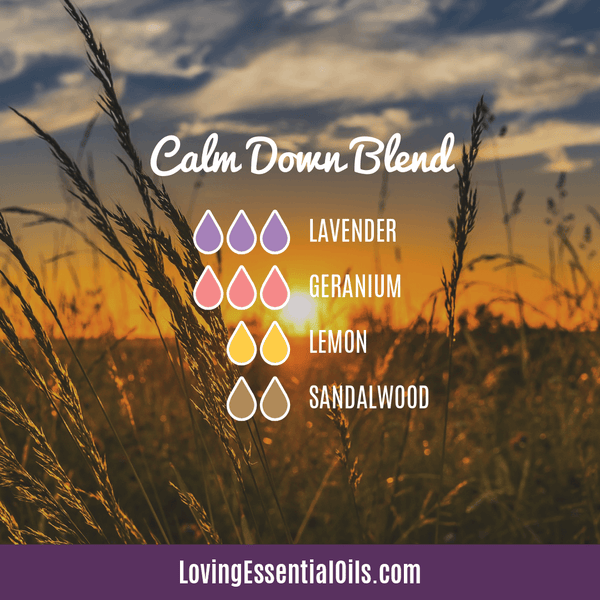 Anti-anxiety Diffuser Blends - Calm Down Blend with Lavender, Geranium, Lemon, and Sandalwood by Loving Essential Oils