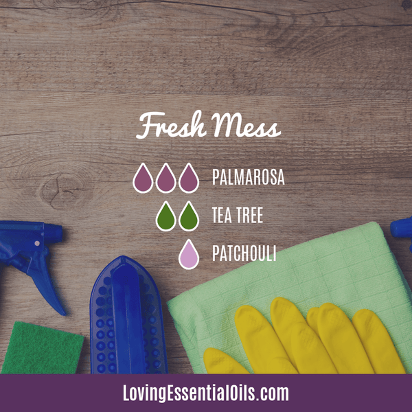 Antiviral Essential Oil for Cleaning - Fresh Mess Diffuser Blend Recipe by Loving Essential Oils with palmarosa, tea tree oil, and patchouli