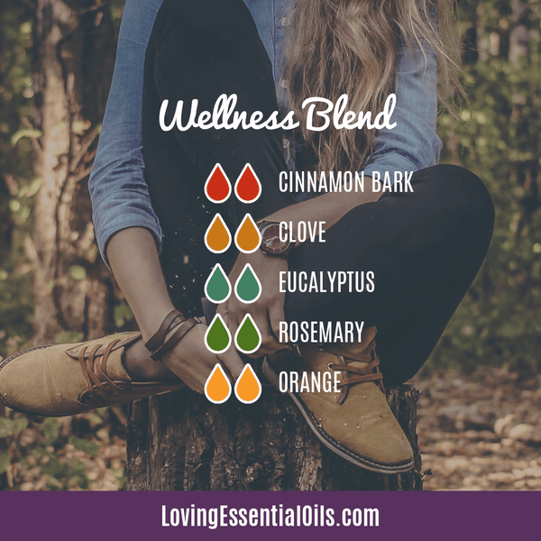 Antiviral Essential Oil for Energy - Wellness Blend Diffuser Recipe by Loving Essential Oils with cinamon, clove, eucalyptus, rosemary, and orange oil