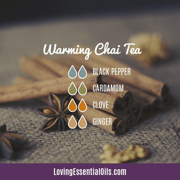 Cardamom Essential Oil Uses, Benefits & Recipes by Loving Essential Oils | Warming Chai Tea with black pepper, cardamom, clove, ginger
