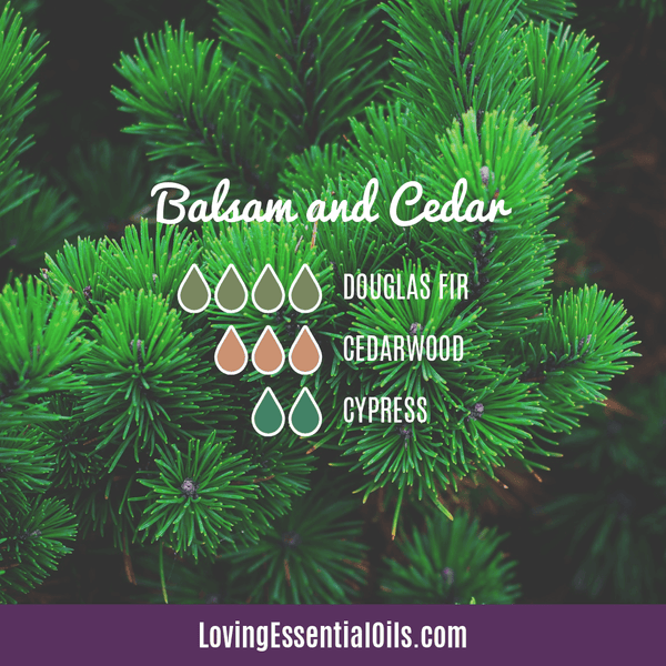 10 Cedarwood Diffuser Blends - Calm Stress and Gain Confidence by Loving Essential Oils | Balsam and Clear with douglas fir, cedarwood, and cypress