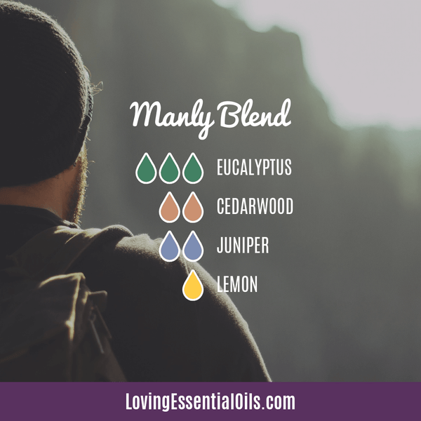 10 Cedarwood Diffuser Blends - Calm Stress and Gain Confidence by Loving Essential Oils | Manly Blend with eucalyptus, cedarwood, juniper, and lemon