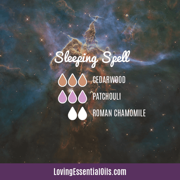 10 Cedarwood Diffuser Blends - Calm Stress and Gain Confidence by Loving Essential Oils | Sleeping Spell with cedarwood, patchouli and roman chamomile
