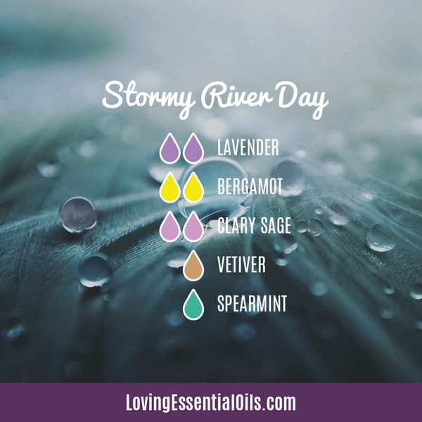 Diffuser Blends with Clary Sage - Stormy River Day with lavender, bergamot, clary sage, vetiver, and spearmint essential oil