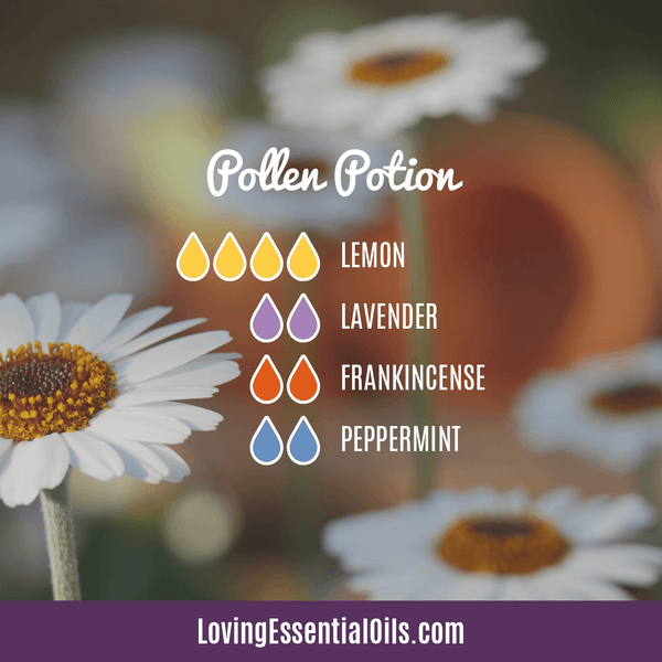 Diffuser Blend for Allergies - Pollen Potion by Loving Essential Oils with lemon, lavender, frankincense, and peppermint