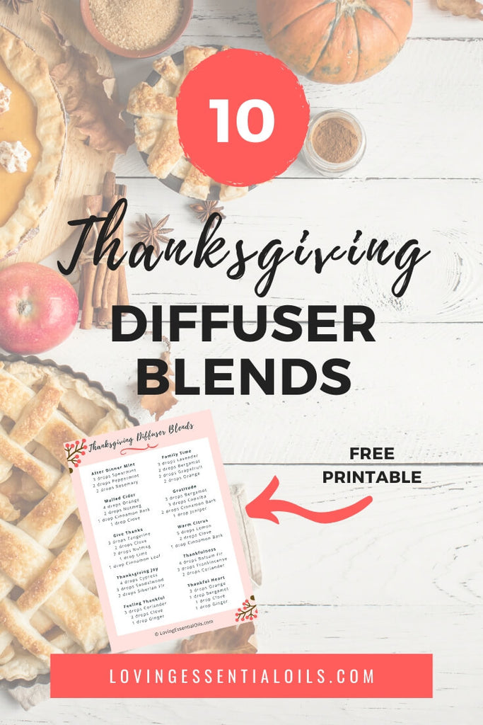 Thanksgiving Essential Oil Diffuser Cheat Sheet - Free Printable PDF