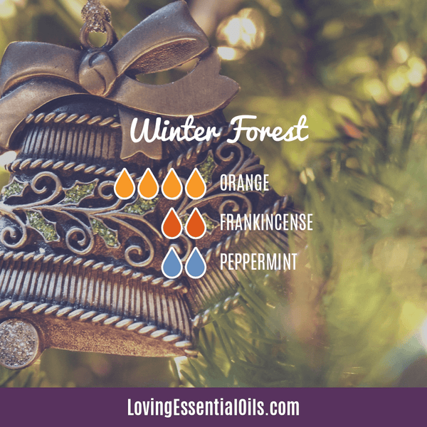 essential oil diffuser recipes for winter - winter forest with orange, frankincense and peppermint