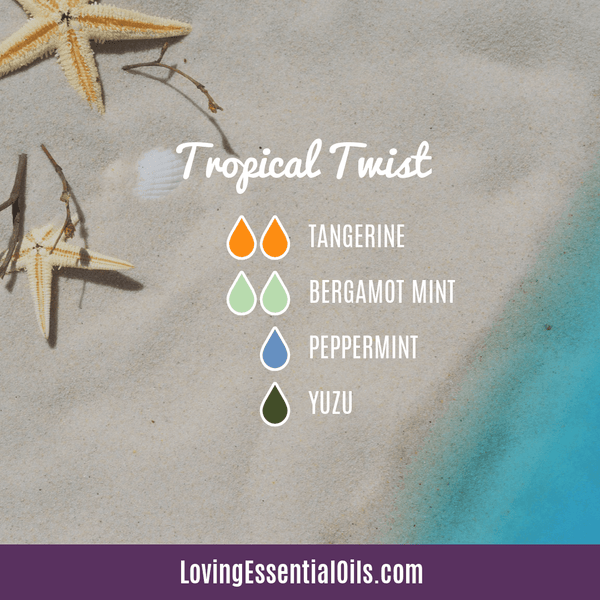 Diffusing Bergamot Mint Essential Oil Tropical Twist by Loving Essential Oils with tangerine, peppermint, and yuzu