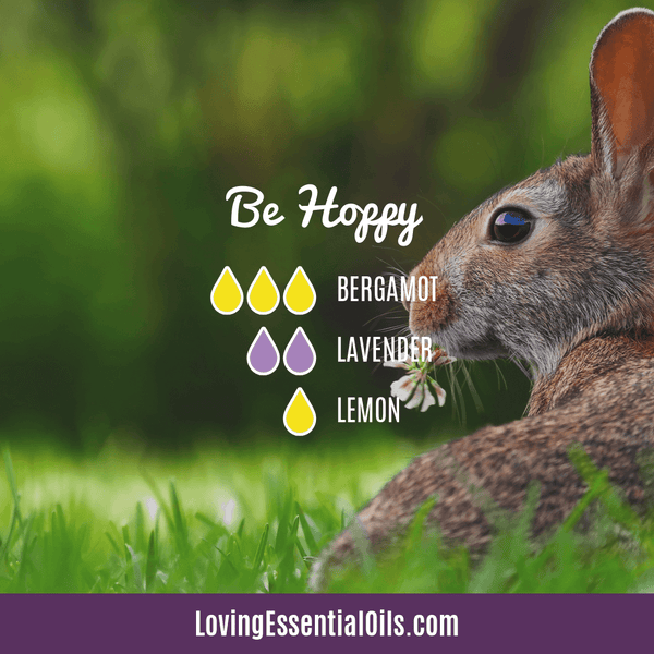 6 Egg-citing Easter Diffuser Blends To Enjoy by Loving Essential Oils | Be Hoppy diffuser blend with bergamot, lavender and lemon essential oil
