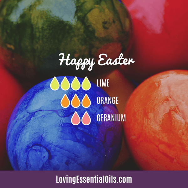 6 Egg-citing Easter Diffuser Blends To Enjoy by Loving Essential Oils | Happy Easter diffuser blend with lime, orange and geranium essential oil