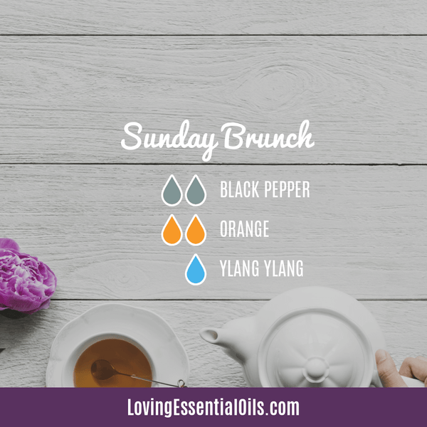 6 Egg-citing Easter Diffuser Blends To Enjoy by Loving Essential Oils | Sunday Brunch diffuser blend with black pepper, orange and ylang ylang essential oil