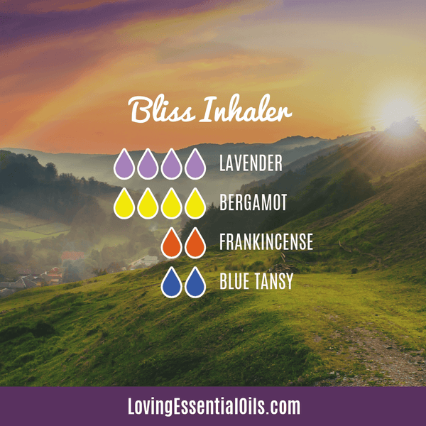 Essential Oil Blend for Emotions - Bliss Inhaler by Loving Essential Oils with lavender, bergamot, frankincense, and blue tansy