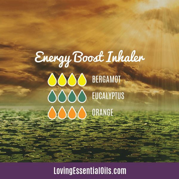 Essential oil blend for energy boost inhaler by Loving Essential Oils with bergamot, eucalyptuss, and sweet orange