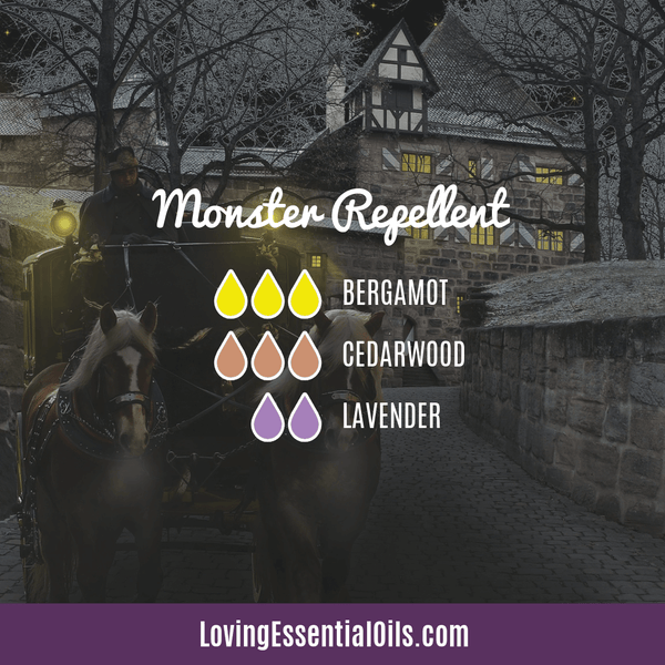 Essential Oil Blend for Halloween - Monster Repellent by Loving Essential Oils with bergamot, cedarwood, and lavender