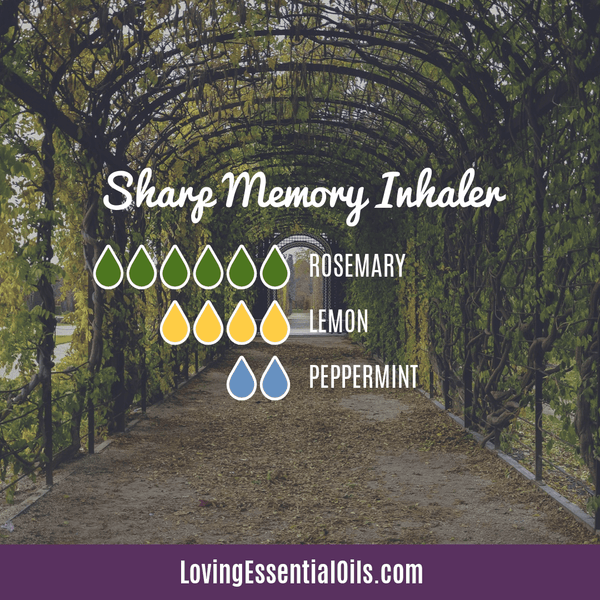 Essential oil blend for memory boost by Loving Essential Oils with rosemary, lemon and peppermint