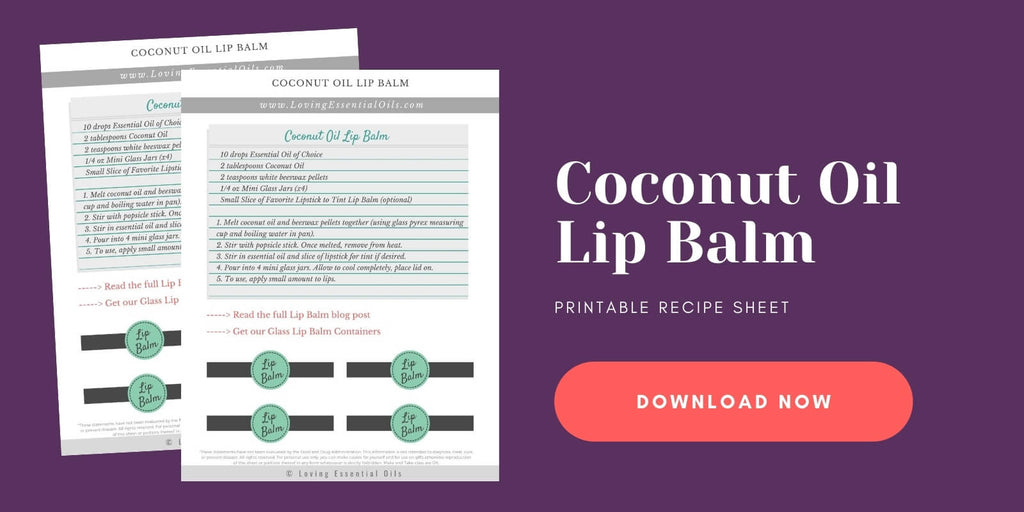Essential oil lip balm labels and free printable by Loving Essential Oils