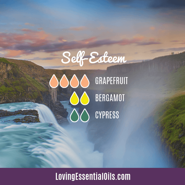 Essential oil recipe for emotions self esteem by Loving Essential Oils with grapefruit, bergamot, and cypress