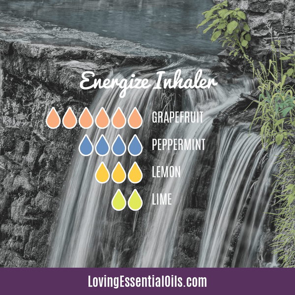 Essential Oil Recipes for Energy by Loving Essential Oils | Energize Aromatherapy Inhaler with grapefruit, peppermint, lemon and lime