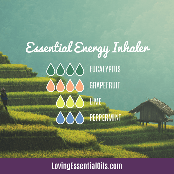 Essential Oil Recipes for Energy by Loving Essential Oils | Essential Energy Aromatherapy Inhaler with eucalyptus, grapefruit, lime and peppermint