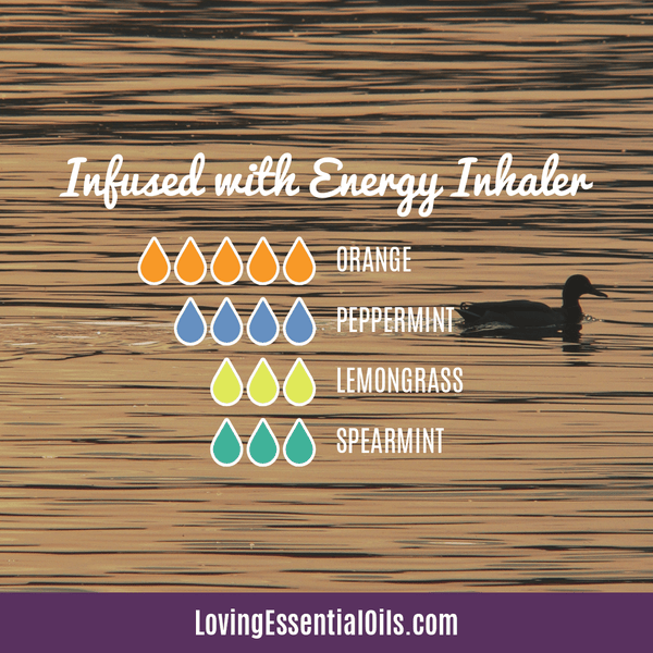 Essential Oil Recipes for Energy by Loving Essential Oils | Infused with Energy Aromatherapy Inhaler with orange, peppermint, lemongrass, and spearmint