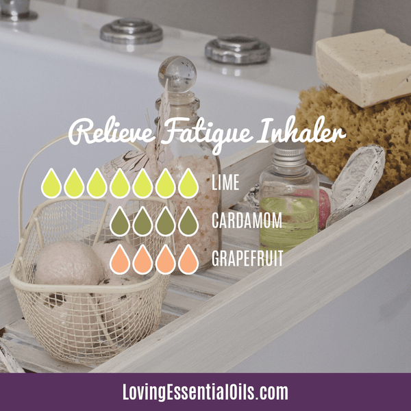 Essential Oil Recipes for Energy by Loving Essential Oils | Relieve Fatigue Aromatherapy Inhaler with lime, cardamom, and grapefruit