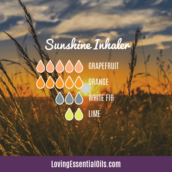 Essential Oil Recipes for Energy by Loving Essential Oils | Sunshine Aromatherapy Inhaler with grapefruit, orange, white fir and lime