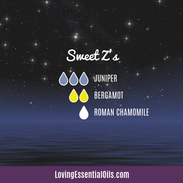 Essential Oil Recipes for Sleep Sweet Z's by Loving Essential Oils with juniper berry, bergamot, and roman chamomile