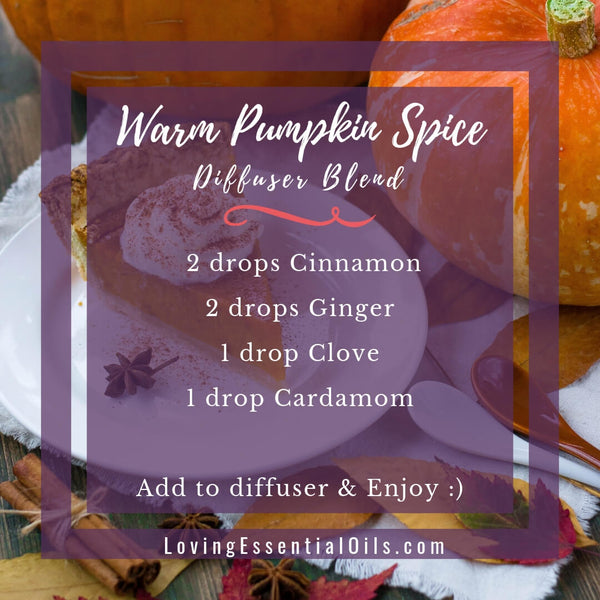 10 Fall Diffuser Blends - Wonderful Scents of the Season! by Loving Essential Oils | Warm Pumpkin Spice with cinnamon, ginger, clove, cardamom