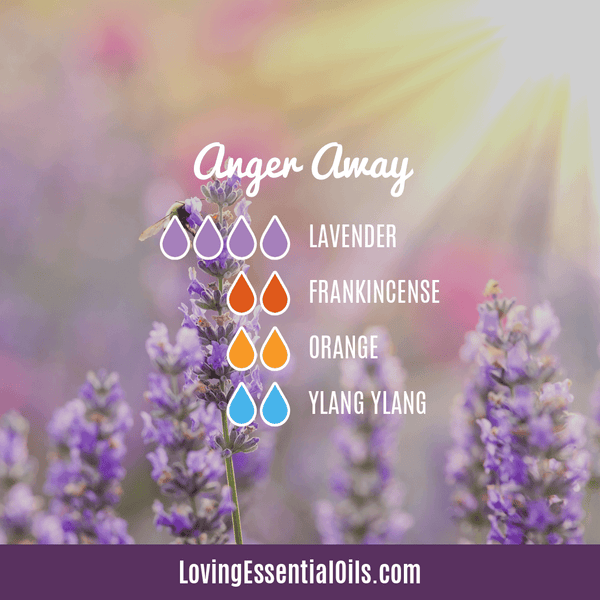 10 Frankincense Diffuser Blends for Health & Wellness by Loving Essential Oils | Anger Away with lavender, frankincense, orange, and ylang ylang