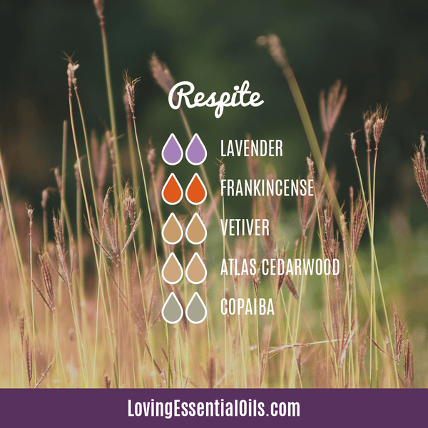 10 Frankincense Diffuser Blends for Health & Wellness by Loving Essential Oils | Respite with lavender, frankincense, vetiver, altas cedarwood, and copaiba