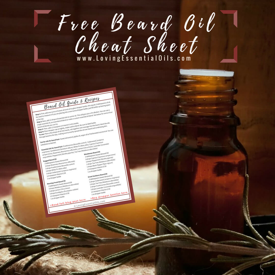 free beard oil cheat sheet by Loving Essential Oils