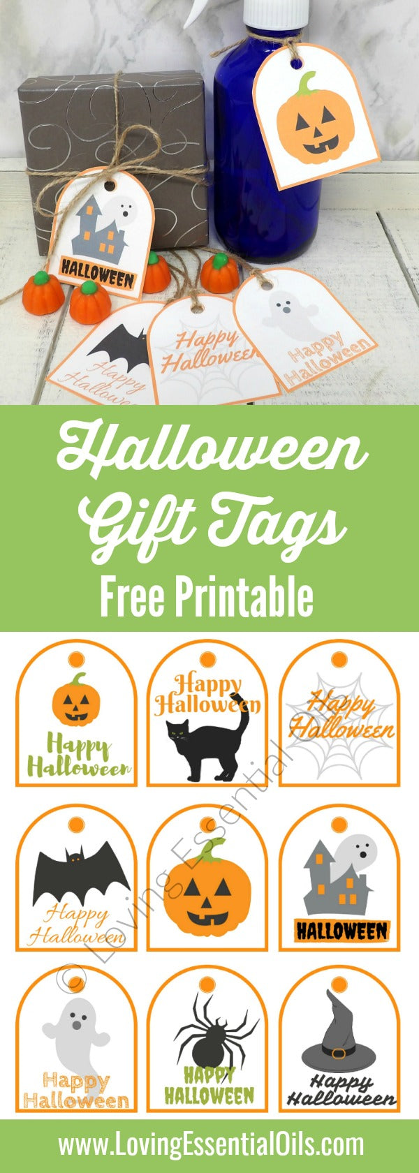 picture about Free Printable Halloween Tags called Free of charge Printable Halloween Present Tags Loving Very important Oils