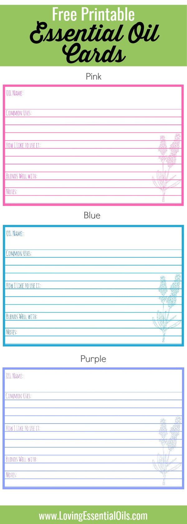 Free Essential Oil Printables - Oil Reference Cards