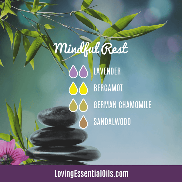 German Chamomile Diffuser Recipe - Mindful Rest by Loving Essential Oils with lavender, bergamot, and sandalwood oil