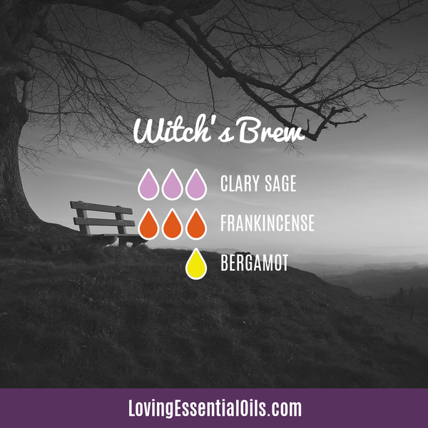 Halloween Diffuser Recipes - Witch's Brew blend by Loving Essential Oils with clary sage, frankincense and bergamot