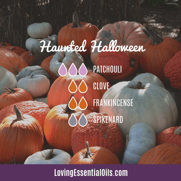 Haunted Halloween Diffuser Blend by Loving Essential Oils with patchouli, clove, frankincense, and spikenard
