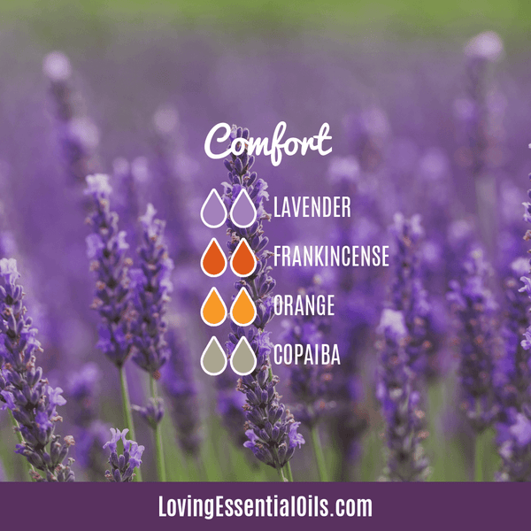 Lavender Diffuser Blends - Promtoe Comfort & Oily Wellness by Loving Essential Oils | Comfort Blend with lavender, frankincense, orange and copaiba essential oils