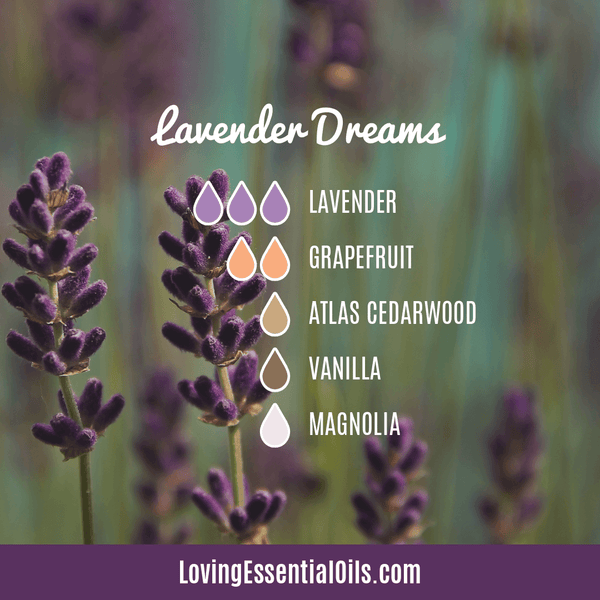 Lavender Diffuser Blends - Promtoe Comfort & Oily Wellness by Loving Essential Oils | Lavender Dreams with lavender, grapefruit, atlas cedarwood, vanilla, and magnolia essential oil