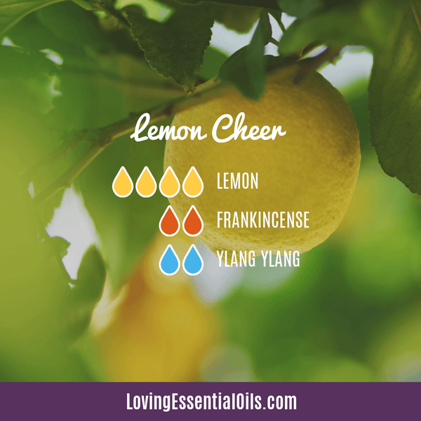 Lemon Diffuser Recipe - Lemon Cheer by Loving Essential Oils with lemon, frankincense and ylang ylang