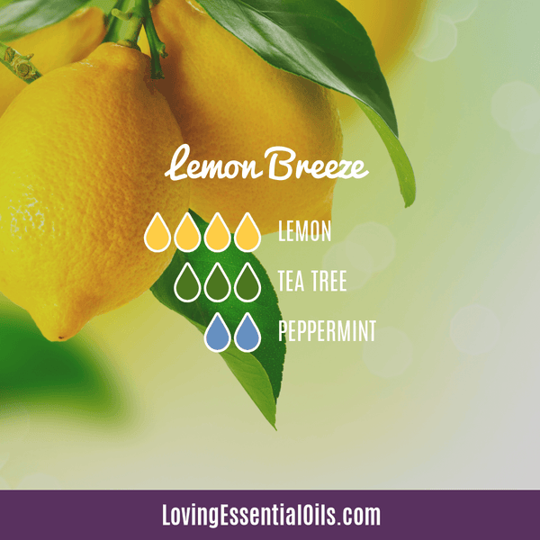 Lemon Essential Oil Recipe - Lemon Breeze by Loving Essential Oils wiith lemon, tea tree oil and peppermint