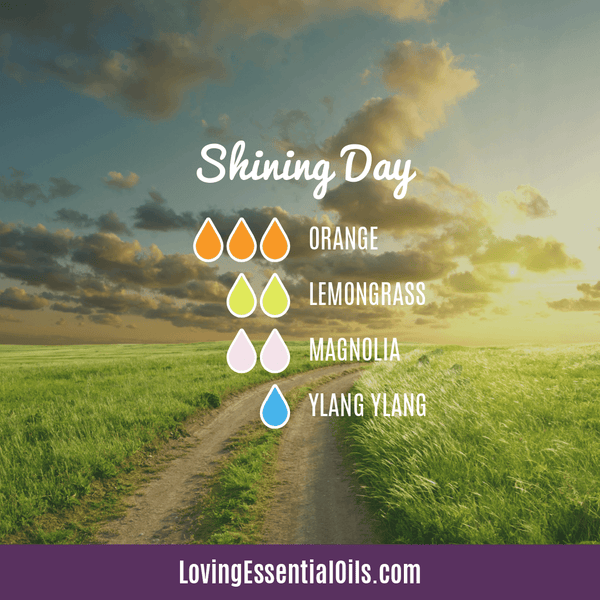 Lemongrass Diffuser Blends - Ease Stress & Raise Spirits! by Loving Essential Oils | Shining Day with orange, lemongrass, magnolia and ylang ylang