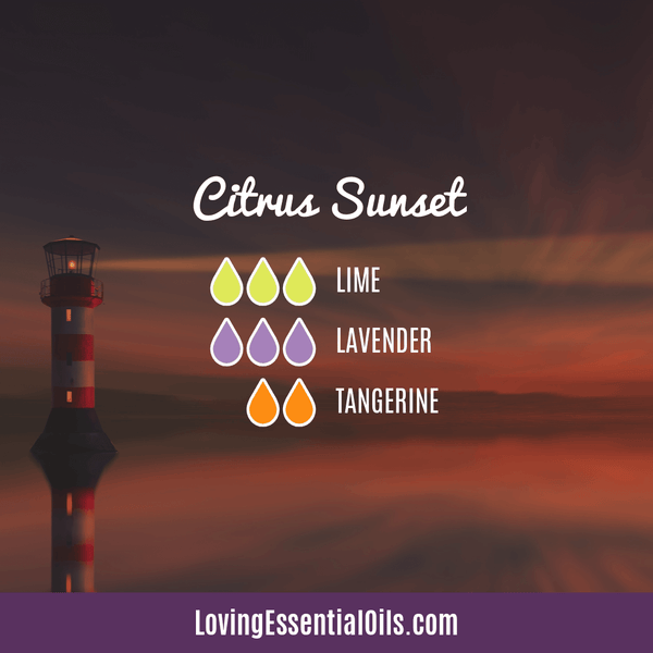 Lime Diffuser Blends - Refresh & Energize Your Day! by Loving Essential Oils | Citrus Sunset with lime, lavender, and tangerine