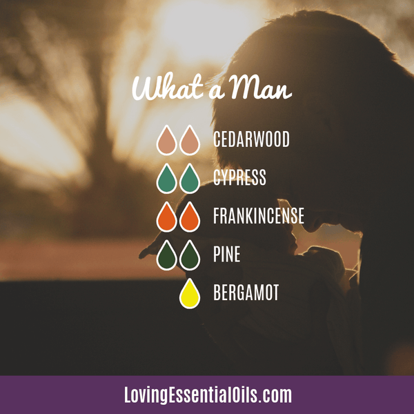 Manly Diffuser Blend - What a Man by Loving Essential Oils with cedarwood, cypress, frankincense, pine, and bergamot