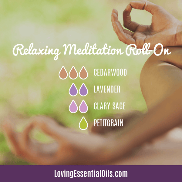 Meditation Blend for Stress Relief - Roller Recipe with Cedarwood, Lavender, Clary Sage, and Petitgrain by Loving Essential Oils