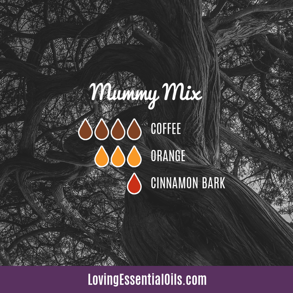 Mummy Mix Diffuser Blend for Halloween by Loving Essential Oils with coffee, orange, and cinnamon bark